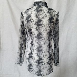 CAbi Tops - CAbi Sheer Snakeskin Long Sleeve Blouse